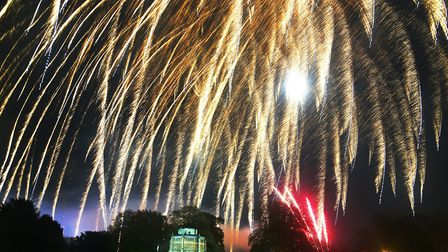 The Fawkes in the Walks fireworks light up the night sky over the Red Mount Chapel in King's Lynn. P