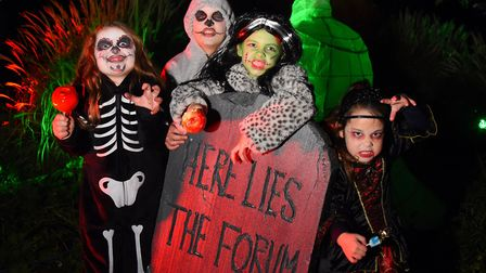 Spooky City 2018 in Chapelfield Gardens, Norwich - from left, Mathilda Gerrard and her brother Finle