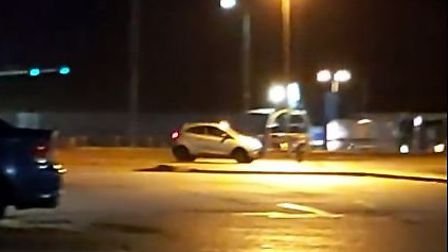 The mobile phone footage which was shot on Monday, October 21, shows the motorist performing doughnu