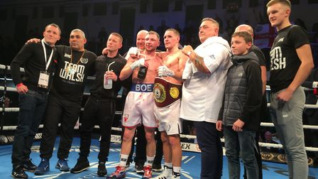 Liam Walsh and Maxi Hughes, with their corners, after the clash at York Hall Picture: Chris Lakey