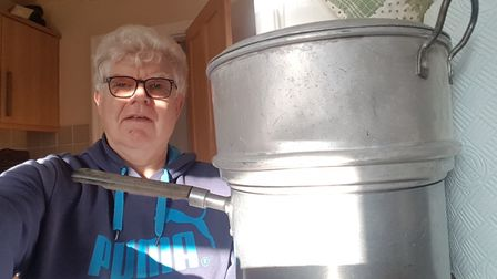 Paul Geater with his saucepan/steamer which dates from the 1950s Picture: ARCHANT