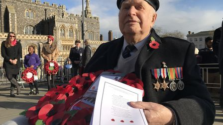 Jack Woods, 95 from Norwich who served with the 4th Royal Tank Regiment came to lay a wreath at the
