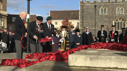 Lest we forget. Veterans lay wreaths at the Remembrance Day commemorations in Norwich 2019. Picture: