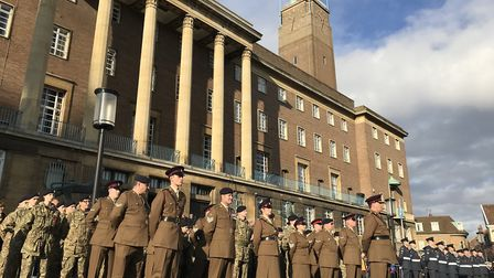The Remembrance Day parade in Norwich 2019. Picture: Neil Didsbury