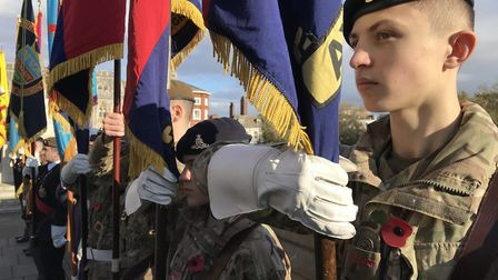 Standard bearers at the Remebrance Day commemorations in Norwich 2019. Picture: Neil Didsbury