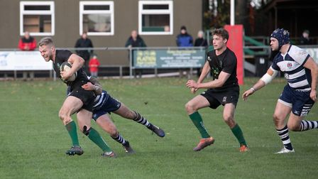 North Walsham Vikings' James Riley carries the fight to Sudbury. Picture: Hywel Jones