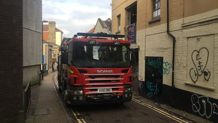A fire engine attends the scene at Norwich Lanes. Photo: Dan Grimmer