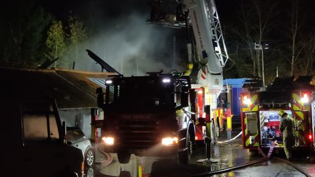 A workshop has been destroyed after a blaze broke out at a barn near Tacolneston. Picture: Archant
