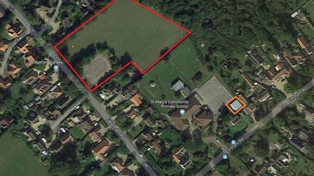 Beetley and District Pre-School (outlined in orange) wants to build a new building on a neighbouring