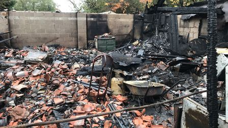 The aftermath of a workshop fire in Tacolneston. Picture: Ella Wilkinson