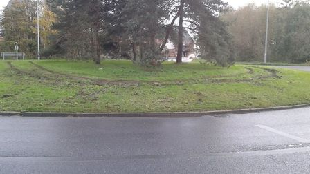 The damage to the roundabout. Photo: Submitted