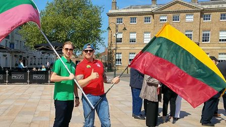 Dovydas Paulionis and Gintaras Simanskis taking part in the Hanse Festival flag parade in King's Lyn