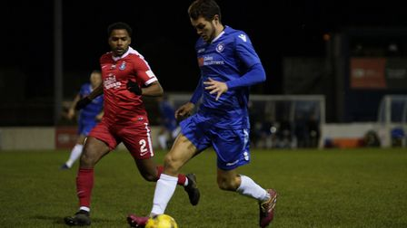 Dylan Williams in action for Lowestoft against Kings Langley. Picture: Shirley D Whitlow