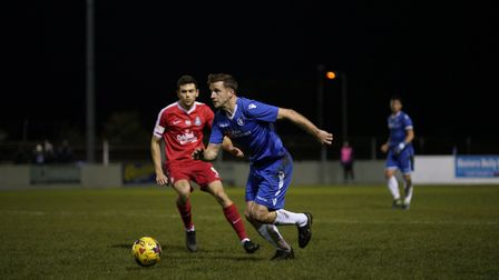 Lowestoft's Adam Tann in action against Kings Langley. Picture: Shirley D Whitlow