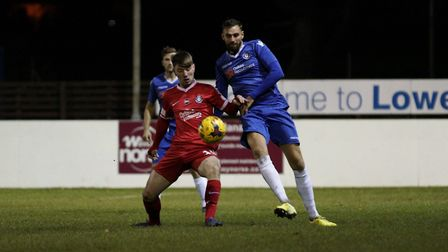 Miguel Lopez battles with Kings Langley's Louie Collier for possession. Picture: Shirley D Whitlow