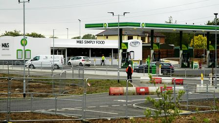 The new BP service station at the A140/A143 junction opened in May but work is yet to start on a pla