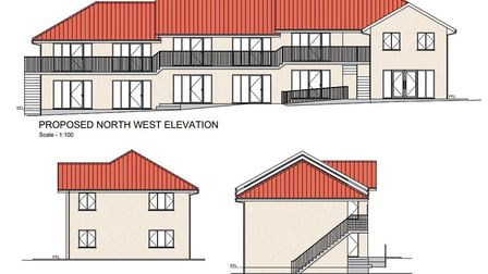 Proposed two-story motel next to service area at junction of A140 and A143 on Norfolk/Suffolk border