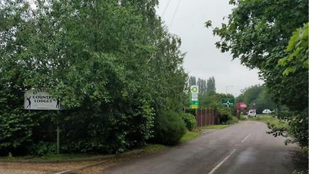 Access to proposed motel next to service area at junction of A140 and A143 would be off Old Bury Roa