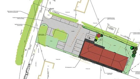 Proposed site plan for new motel development next to service area at junction of A140 and A143 on No