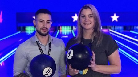 Hollywood Bowl assistant manager, James Oldroyd and manager, Sarah Macnab playing the new hyperbowl