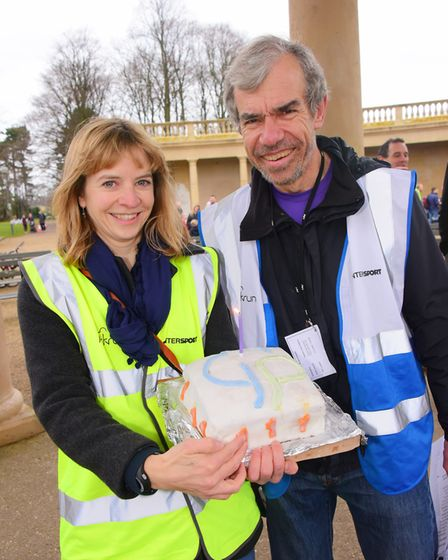 Andrew Lane with Jo Phillips at the first anniversary of Norwich Junior parkrun. Picture: Archant