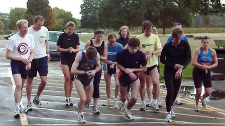Andrew Lane (in yellow T-shirt) taking part in the first Parkrun at Bushy Park, London, on October 2