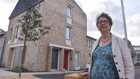 Award winning social housing built at Goldsmith Street in Norwich. Gail Light, cabinet member with r