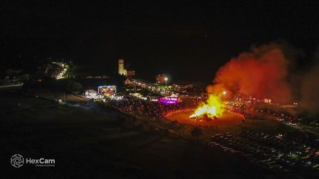 Drone footage of fireworks in Norfolk. Picture: HexCam