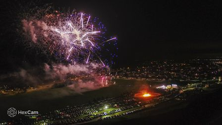 Drone image of fireworks in Norfolk. Picture: HexCam