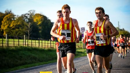 George Gay and Ben Spratling in the leading pack at the Trowse 10K. Picture: Epic Action Imagery