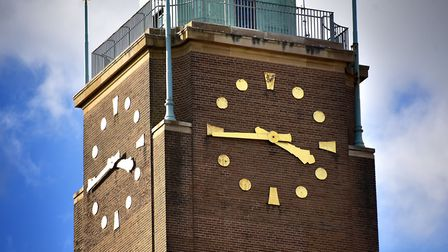 The clock tower at Norwich City Hall. Picture: Antony Kelly