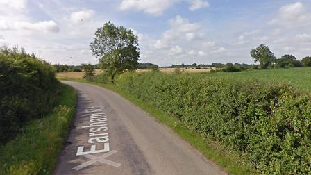 A car rolled on to its roof on Earsham Road near Bungay. Picture: Google Maps
