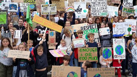 The climate change protest outisde City Hall in Norwich at the end of September. Picture: Archant