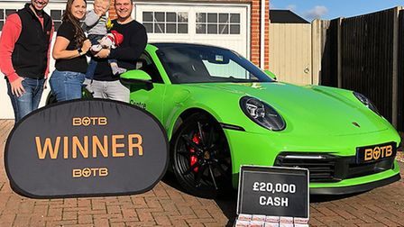 Glyn Cotton, 34, from Attleborough, was surprised with a brand new Porsche after entering a competit