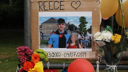 Tributes in The Walks, King's Lynn, to Reece Hornibrook who died in 2019. Picture: Chris Bishop
