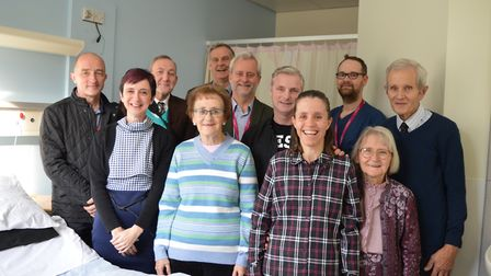 Family and friends of Malcolm Porter on the new epilepsy facility alongside NNUH clinicians. Picture