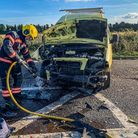 Fire crews dealsing with a crash on the A47 Wisbech bypass. Picture: Fenland Police