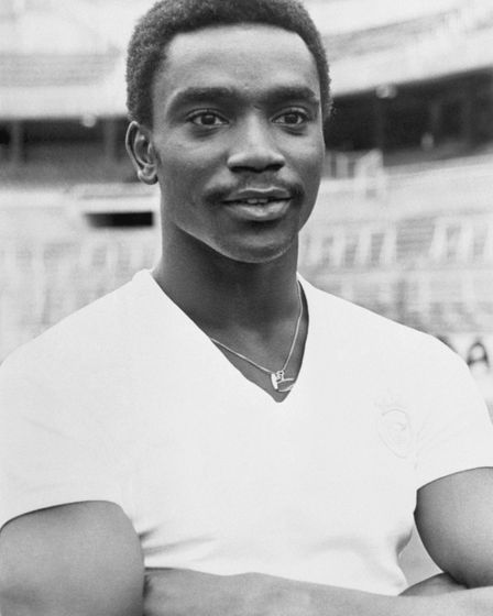 Laurie Cunningham, the 23-year-old West Bromwich Albion and England footballer, in his new team stri