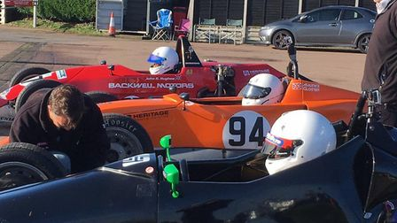 The leading trio of Formula Vee's line up ready to do battle in the Snetterton final with Carbrooke'