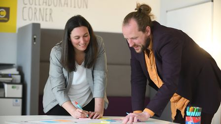 Sophie Cox and Finbarr Carter, part of the team at the UEA Enterprise Centre. Picture: Henry Iddon