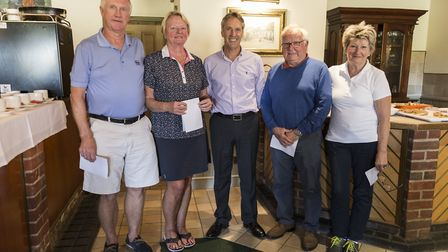The winning team at the recent Seniors' Charity Day at Dunston Hall, David and Loyola Weeks and Susa