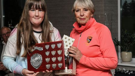 Junior autumn meeting winner Rebecca Chesterton with county president Heather Keeble Picture: SUE HE