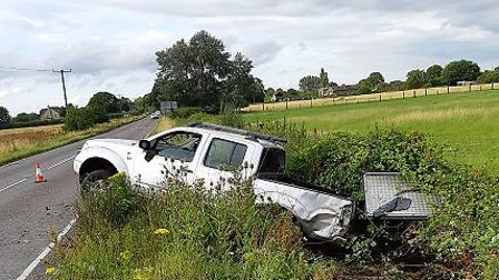 The scene of the accident, after the Nissan rolled over Picture: Cambridgeshire Police