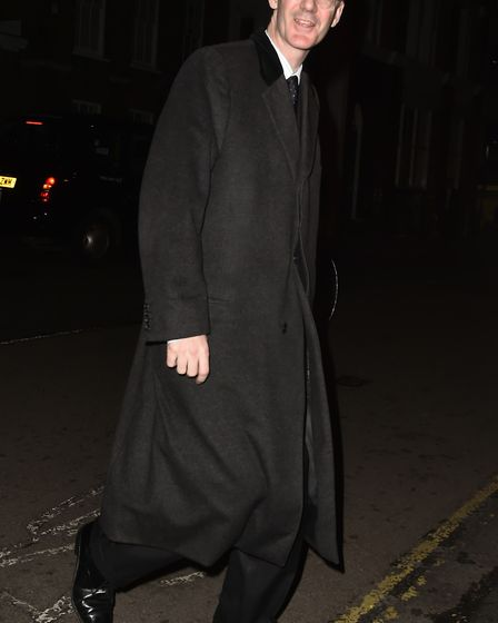 Jacob Rees Mogg MP arrives at a Conservative party Black & White Ball fundraiser at the Chiswell Bre