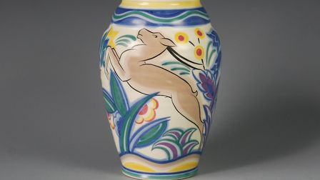 Leaping Deer vase, Carter, Stabler and Adams Ltd, Poole, painted by Eileen Prangnell, 1935. Copyrigh