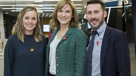 Fiona Bruce sporting Finnbar's fox badge with Claire and Tristan Cork. Picture: Action Medical Resea