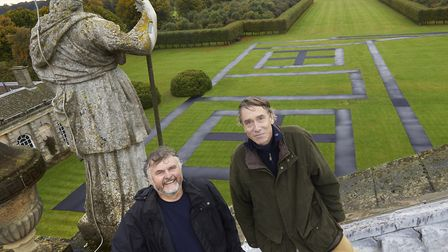 Artist Richard Woods and Lord Cholmondeley in front of Estate at Houghton Hall. Picture: Peter Huggi