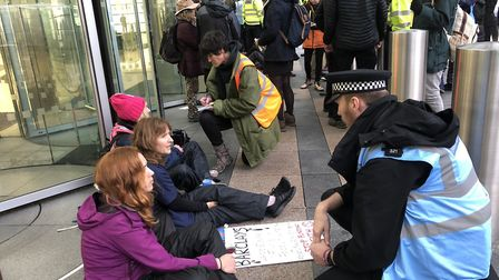 Six Extinction Rebellion protestors from Norwich have been arrested outside Barclays bank. Picture: