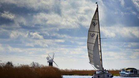A sail boat and cruiser on the River Thurne in 2016 Piicture: ANTONY KELLY/Archant