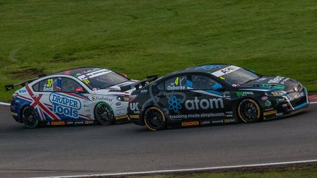 The EXCELR8 MG6 of Sam Osborne leading team-mate Rob Smith as the pair race in tandem at the final r